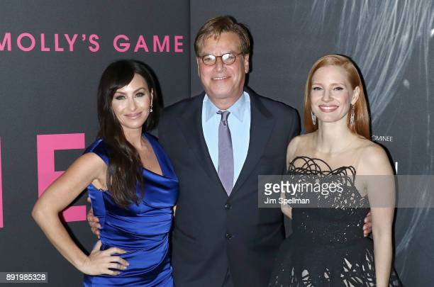 Molly Bloom writer/director Aaron Sorkin and actress Jessica Chastain attend the 'Molly's Game' New York premiere at AMC Loews Lincoln Square on...