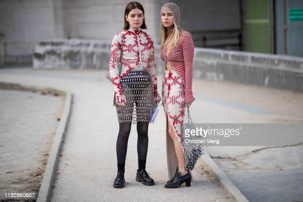 Molly Blutstein and Courtney Trop is seen outside Paco Rabanne during Paris Fashion Week Womenswear Fall/Winter 2019/2020 on February 28 2019 in...