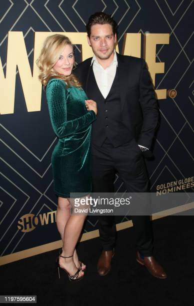 Molly Burnett and Dominic Sherwood attend Showtime's Golden Globe Nominees Celebration at Sunset Tower Hotel on January 04 2020 in West Hollywood...