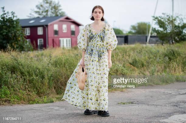 Molly Butstein is seen wearing sheer dress outside Cecilie Bahnsen during Copenhagen Fashion Week Spring/Summer 2020 on August 07, 2019 in...
