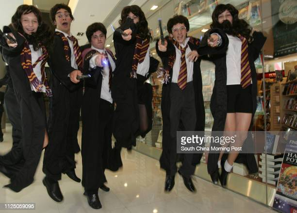 Molly Campbell, Micah Sandt, Grey Forse, Sophie Price, Hamish Campbell and Savannah Betts play as Harry Potter and Hermione Granger for the promotion...