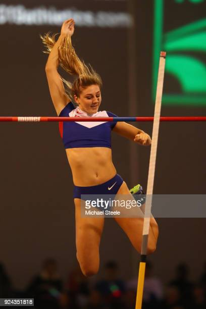 Molly Caudery of Great Britain in action during the women's pole vault during the Muller Indoor Grand Prix at Emirates Arena on February 25 2018 in...