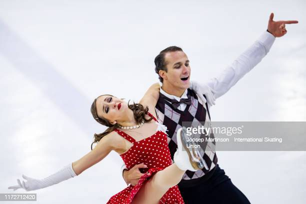 Molly Cesanek and Yehor Yehorov of the United States compete in the Junior Ice Dance Rhythm Dance during the ISU Junior Grand Prix of Figure Skating...