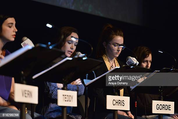 Molly Ephraim Ellen Page and Kaitlyn Dever attend the Film Independent At LACMA Live Read of Stand By Me at Bing Theatre At LACMA on March 17 2016 in...
