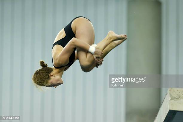 Molly Fears holds a tuck position while diving during the Senior Women's Platform Semifinal during the 2017 USA Diving Summer National Championships...