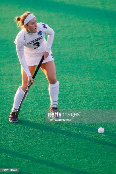 Molly Freeman of Middlebury College looks for an open teammate during the Division III Women's Field Hockey Championship held at Trager Stadium on...