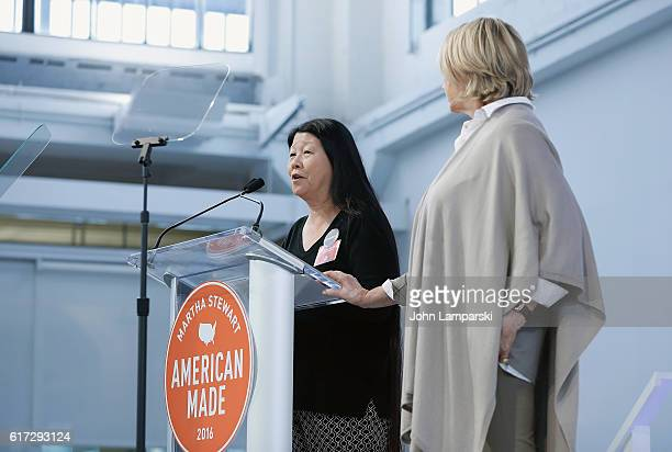 Molly Gen of Harry's Berries and Martha Stewart speak during the Martha Stewart American Made Summit at Martha Stewart Living Omnimedia Headquarters...