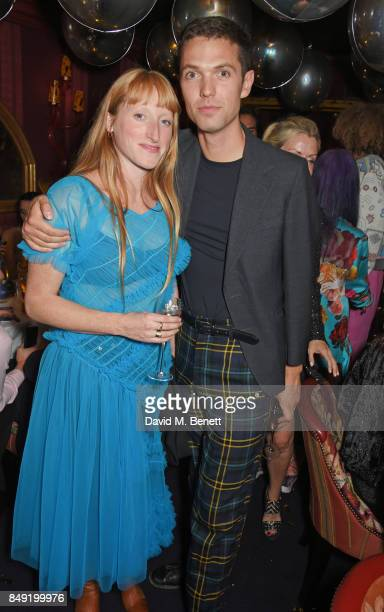 Molly Goddard and Thomas Shickle attend the LOVE magazine x Miu Miu party held during London Fashion Week in association with Perrier Jouet at...