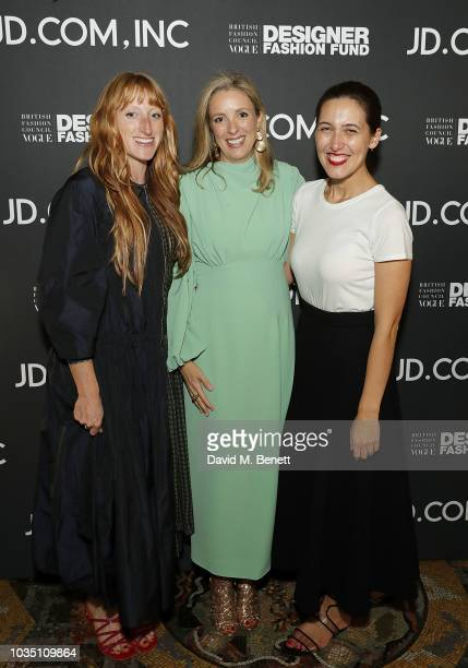 Molly Goddard, Stephanie Phair and Emilia Wickstead attend the BFC/Vogue Designer Fashion Fund in partnership with JD.com, Inc, China's largest...