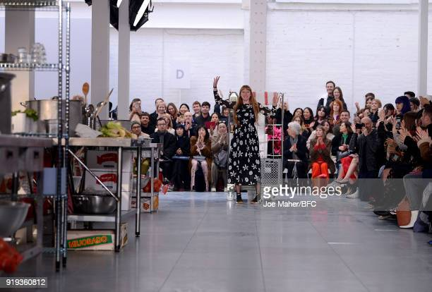 Molly Goddard walks the runway at the Molly Goddard show during London Fashion Week February 2018 at TopShop Show Space on February 17 2018 in London...