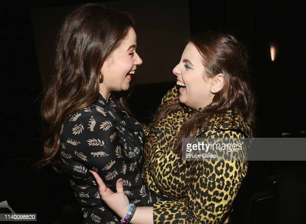Molly Gordon and Beanie Feldstein pose at a Booksmart x Broadway screening of the Annapurna Film Booksmart honoring Beanie Feldstein Noah Galvin and...