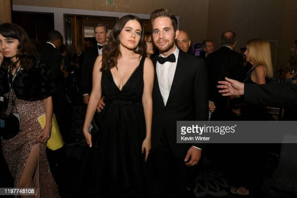 Molly Gordon and Ben Platt attend the 77th Annual Golden Globe Awards Cocktail Reception at The Beverly Hilton Hotel on January 05 2020 in Beverly...