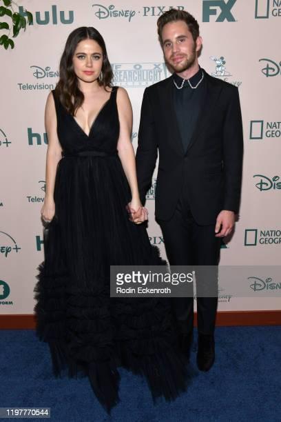 Molly Gordon and Ben Platt attend The Walt Disney Company 2020 Golden Globe Awards PostShow Celebration at The Beverly Hilton Hotel on January 05...