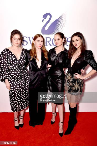Molly Gordon Zosia Mamet Debby Ryan and Victoria Justice attend Naughty Or Nice A Swarovski Holiday Celebration on December 10 2019 in New York City