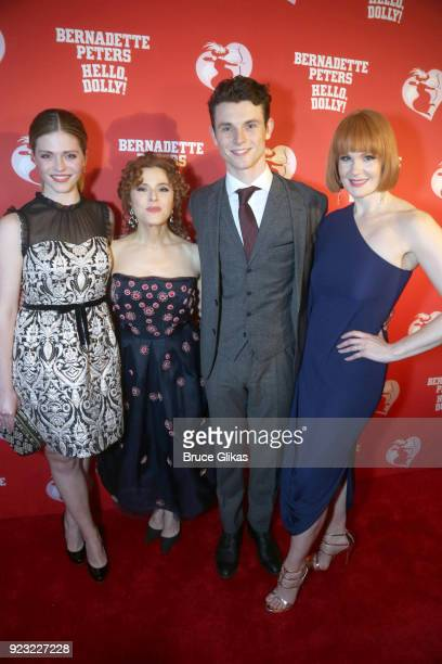"""Molly Griggs, Bernadette Peters, Charlie Stemp and Kate Baldwin pose at Bernadette Peters Opening Night celebration for """"Hello Dolly"""" on Broadway at..."""