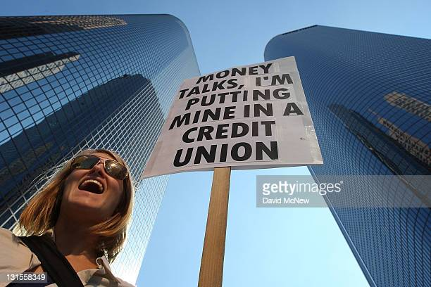 Molly Hawkey who moved her money from a bank to a credit union this week carries her sign in the downtown financial district during during the the...