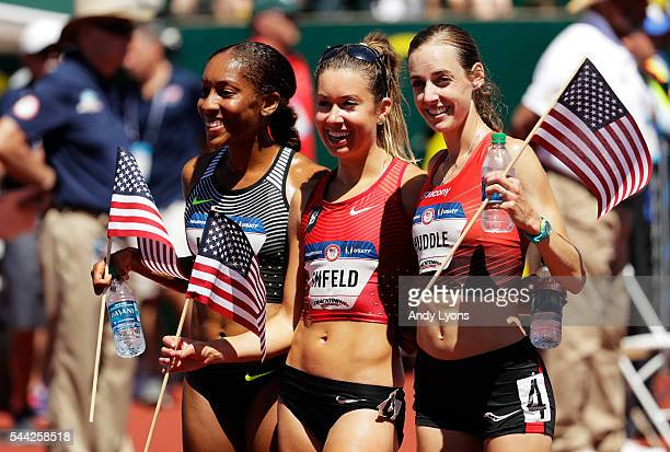 Molly Huddle, Emily Infeld and Marielle Hall run celebrate after the Women's 10,000 Meters Final during the 2016 U.S. Olympic Track & Field Team...