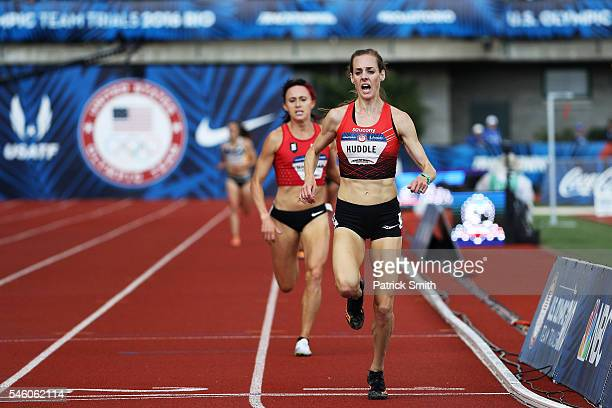 Molly Huddle, first place and Shelby Houlihan, second place, compete in the Women's 5000 Meter Final during the 2016 U.S. Olympic Track & Field Team...