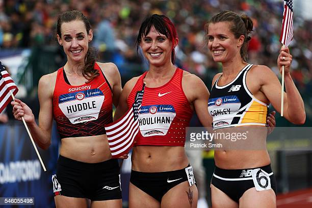 Molly Huddle, first place, Shelby Houlihan, second place, and Kim Conley, third place, celebrate after the Women's 5000 Meter Final during the 2016...