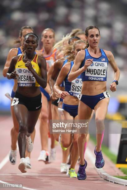 Molly Huddle of the United States competes in the Women's 10,000 Metres final during day two of 17th IAAF World Athletics Championships Doha 2019 at...