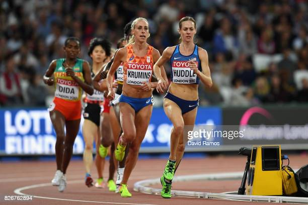 Molly Huddle of the United States competes in the Women's 10000 metres during day two of the 16th IAAF World Athletics Championships London 2017 at...