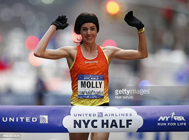 Molly Huddle of the United States wins the women's 2015 United Airlines New York City Half Marathon in lower Manhattan on March. 15, 2015 in New York...