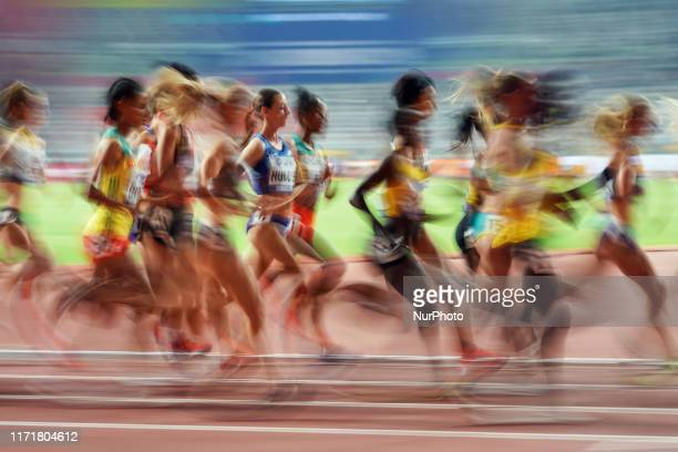 Molly Huddle of United States and Sifan Hassan of Netherlands competing in the 10000 meter for women during the 17th IAAF World Athletics...