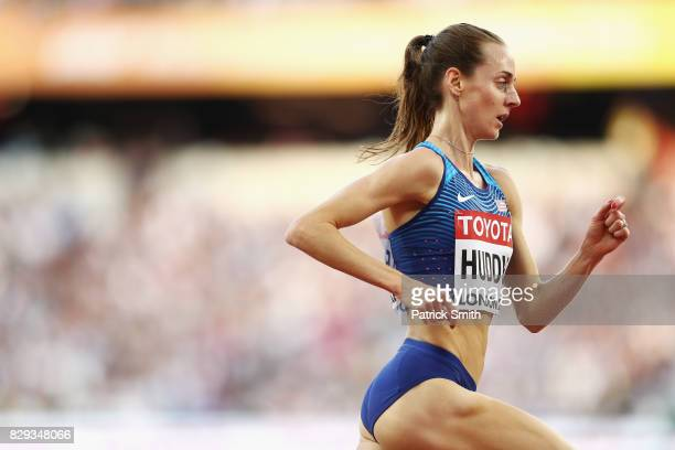 Molly Huddle of United States competes in the womens 5000 metres heats during day seven of the 16th IAAF World Athletics Championships London 2017 at...