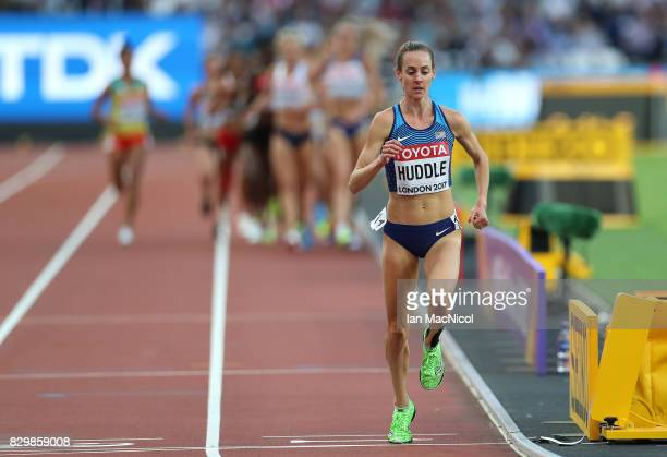 Molly Huddle of United States competes in the Women's 5000m heats during day seven of the 16th IAAF World Athletics Championships London 2017 at The...