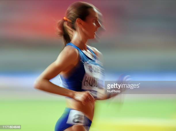 Molly Huddle of United States competing in the 10000 meter for women during the 17th IAAF World Athletics Championships at the Khalifa Stadium in...