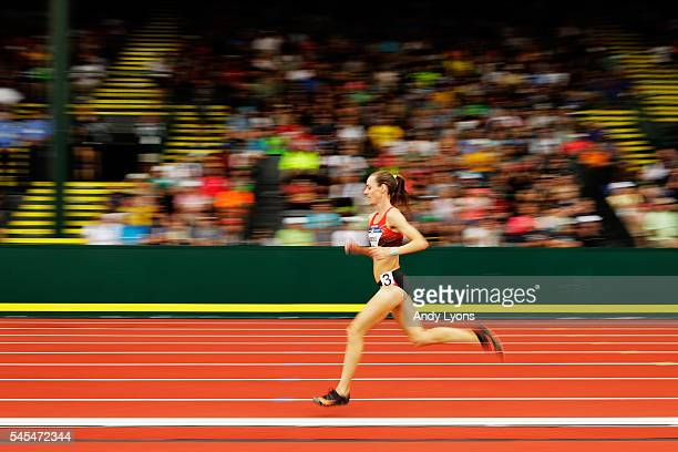 Molly Huddle runs in the first round of the Women's 5000 Meter during the 2016 U.S. Olympic Track & Field Team Trials at Hayward Field on July 7,...