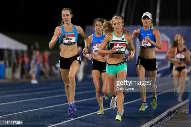 Molly Huddle runs to victory in the final of the 10,00 meter during the 2019 USATF Outdoor Championships at Drake Stadium on July 25, 2019 in Des...