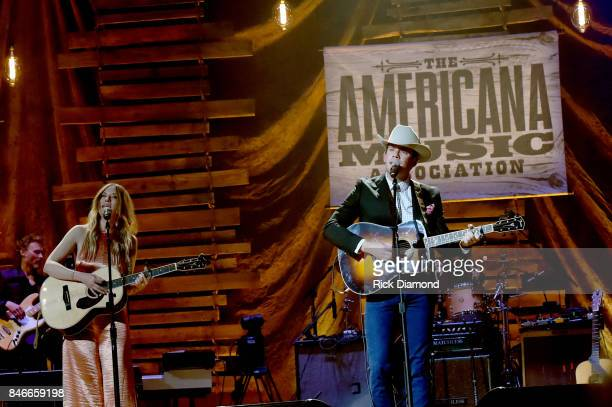 Molly Jenson and Sam Outlaw perform onstage during the 2017 Americana Music Association Honors Awards on September 13 2017 in Nashville Tennessee