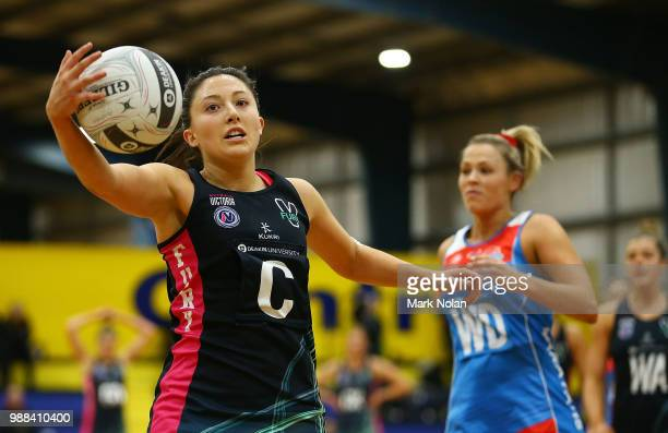 Molly Jovic of the Fury in action during the Australian Netball League third place playoff between the NSW Waratahs and Victoria Fury at the ACT...