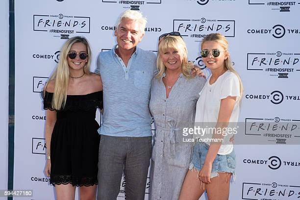 Molly Lowe Phillip Schofield Stephanie Lowe and Ruby Lowe attend launches Comedy Central's Friendfest at Haggerston Park on August 23 2016 in London...