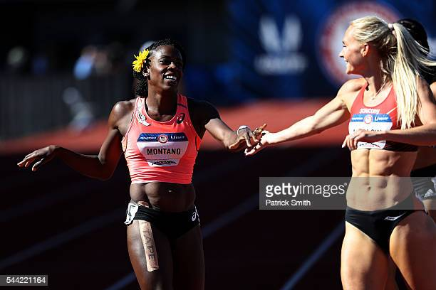 Molly Ludlow first place celebrates with Alysia Montano second place after running in the first round of the Women's 800 Meters during the 2016 US...