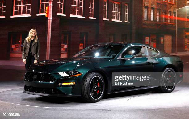 Molly McQueen granddaughter of iconic actor Steve McQueen introduces the 2018 Ford Mustang Bullitt at its debut at the 2018 North American...