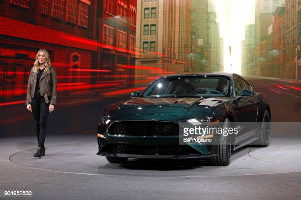 Molly McQueen the granddaughter of actor Steve McQueen introduces the 2018 Ford Mustang Bullitt makes its debut at the 2018 North American...