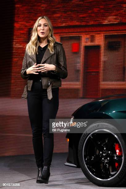 Molly McQueen the granddaughter of actor Steve McQueen introduces the new 2018 Ford Mustang Bullitt at its debut at the 2018 North American...