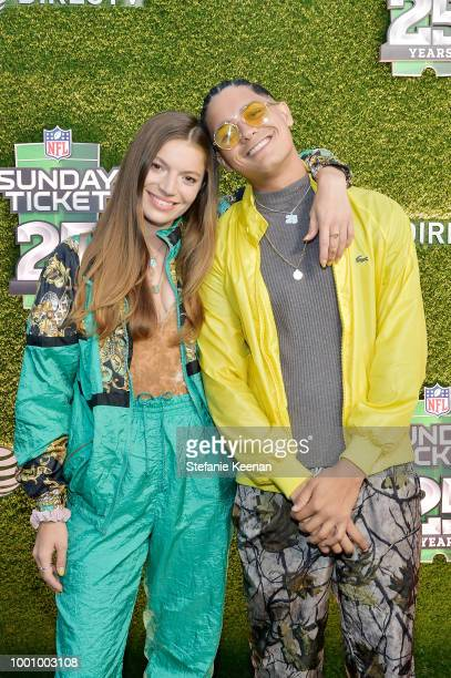 Molly Moore and Brandyn Burnette attend DIRECTV CELEBRATES 25th Season of NFL SUNDAY TICKET at Nomad Hotel Los Angeles on July 17 2018 in Los Angeles...