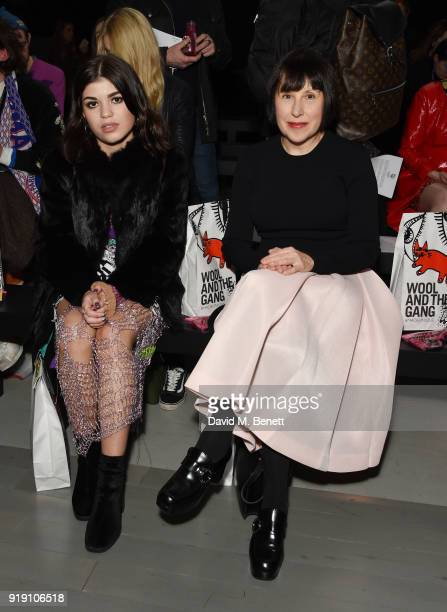 Molly Moorish and Alice Rawsthorne attend the Matty Bovan show during London Fashion Week February 2018 at BFC Show Space on February 16 2018 in...