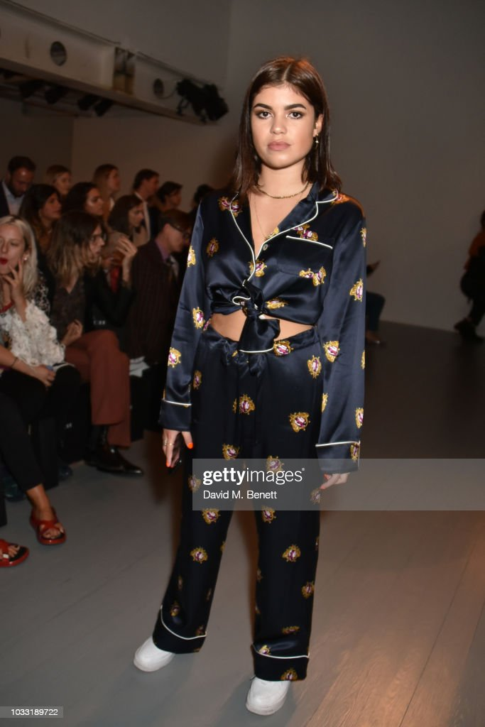 Molly Moorish attends the Matty Bovan front row during London Fashion Week September 2018 at the BFC Show Space on September 14, 2018 in London, England.