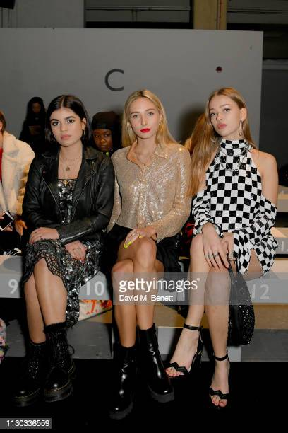 Molly Moorish Dylan Weller and Jessica Alexander attend the Ashish show during London Fashion Week February 2019 at Ambika P3 on February 17 2019 in...