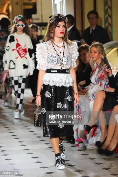 Molly Morrish walks the Dolce Gabbana Italian Christmas catwalk show at Harrods on November 2 2017 in London England