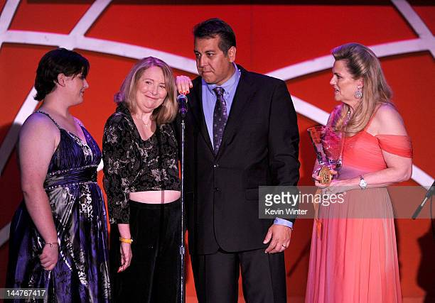 Molly O'Neill Teri Garr and Nancy Davis speak onstage at the 19th Annual Race to Erase MS held at the Hyatt Regency Century Plaza on May 18 2012 in...