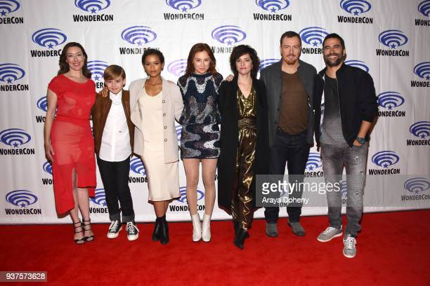 Molly Parker Max Jenkins Taylor Russell Mina Sundwall Parker Posey Toby Stephens and Ignacio Serricchio attend the 'Lost in Space' press conference...