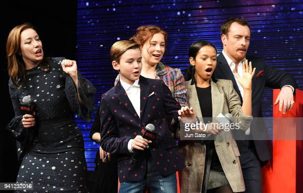 Molly Parker Maxwell Jenkins Mina Sundwall Taylor Russell and Toby Stephens attend the 'Lost In Space' premier event at Omotesando Hills on April 3...
