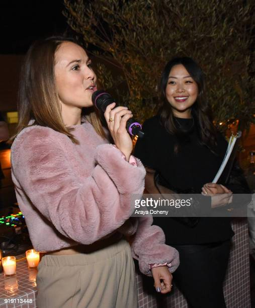 Molly Paterno and Grace Chang attend the Flaunt Magazine Dinner with Nike and Revolve on February 15 2018 in Los Angeles California