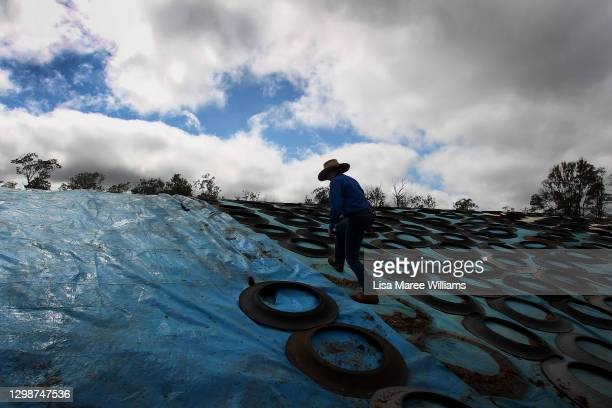 Molly Penfold prepares to pull back tarp covering silage for cattle feed at Mamaree on January 19, 2021 in Meandarra, Australia. COVID-19 and the...