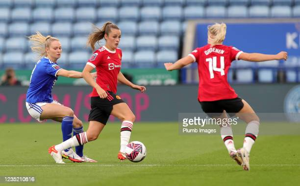 Molly Pike of Leicester City Women in action with Ella Toone of Manchester United Women during the Barclays FA Women's Super League match between...